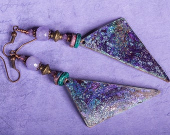Purple fantasy copper earrings with swarovski crystals