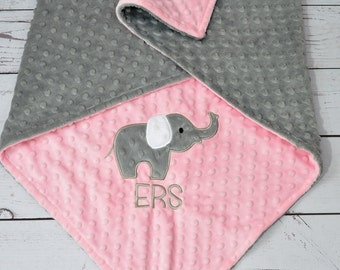 Personalized Minky Baby Blanket-Pink Elephant baby blanket-Personalized Elephant Minky blanket-Minky Elephant Blanket-Girl baby blanket