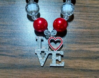 Valentine's Day Chunky Bubblegum Necklace.  Love Chunky Gumball Necklace