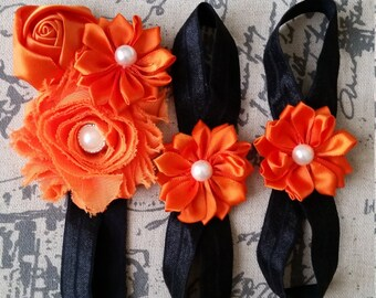Black and Orange Headband & Bareoot Sandals