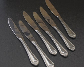 Vintage Pfaltzgraff Stainless Flatware, Biscayne Pattern, Fan Tip, Outline Edge, Silverware, Dinner Knives, Eating Utensils, Daily Tableware