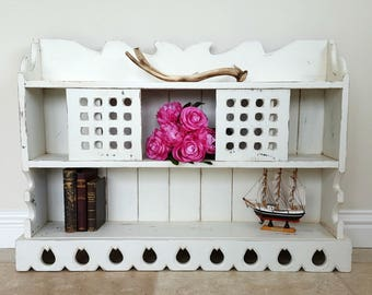 White Hanging Shelves, Shabby Chic Shelf Unit, Wall Storage, Hanging Shelf, Kitchen Shelving