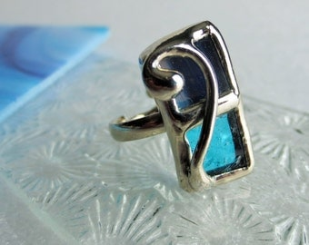 Turquoise ajusjable ring in stained glass