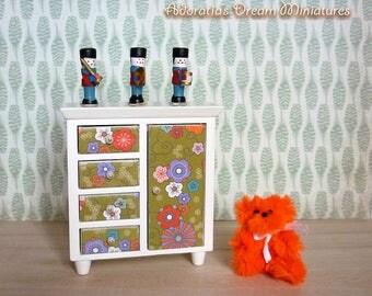 Dollhouse miniature cabinet 1:12 scale, modern dollhouse miniature furniture, retro dollhouse cabinet