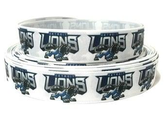 7/8 Detroit lions Ribbon, Detroit Ribbon, Detroit Grosgrain Ribbon