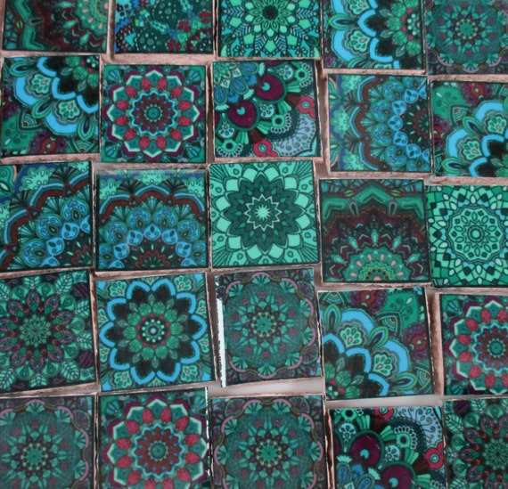 Ceramic Mosaic Tiles Blue Green Teal Medallions Moroccan
