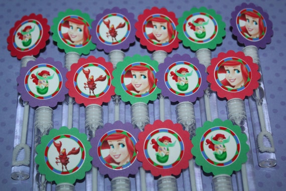 Little mermaid inspired mini bubble wands party favors set for Mini bubble wands