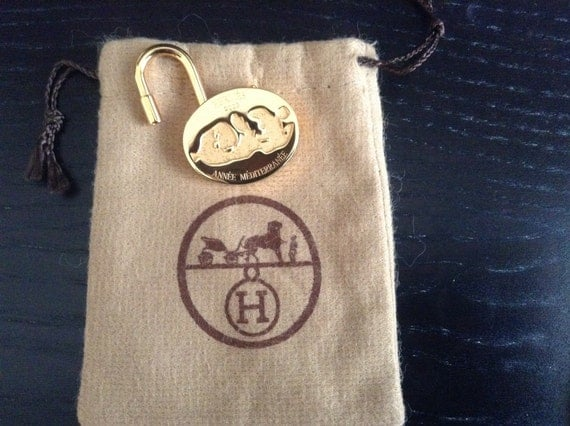 Authentic Hermes pendant, cadenas, pad lock gold plated, motive Mediterranean
