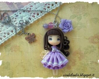Liliac sailor doll necklace polymer clay