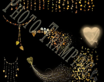Whimsical Gold Heart png Overlays