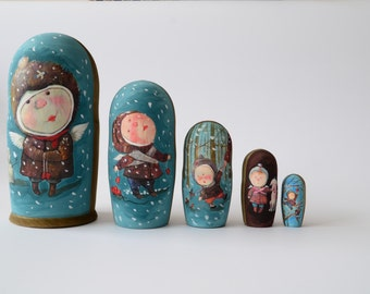 Hand Painted Russian Nesting Doll Matryoshka Christmas Angel, New year, Made In Russia, Free Shipping