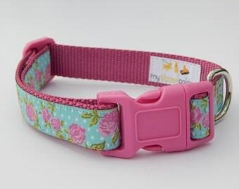 Pink Rose Dog Collar, Shabby Chic Dog Collar, Adjustable Dog Collar, Pink Dog Collar, Girl Dog Collar
