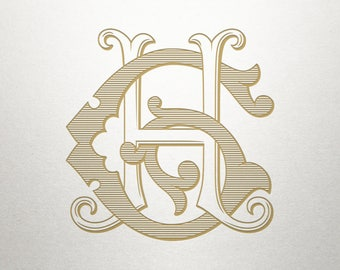 Digital Wedding Monogram - GH HG - Wedding Monogram - Vintage