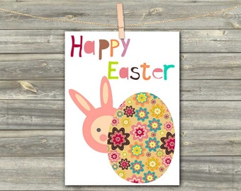 DIGITAL CARD Happy Easter rabbit pink download card Greeting Card for girl baby kids card