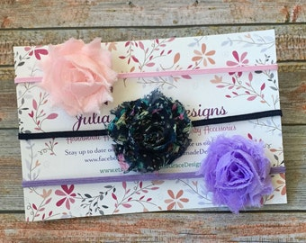 3 MINI Shabby Chic Headbands, Baby Headband Set, Headband Gift Set, Baby Headband, Newborn Headband, Baby Girl Headband, Infant Headband