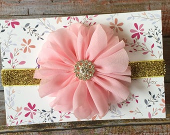 Pink & Gold Headband, Infant Headband, Pink and Gold Baby Headband, Baby Girl Headband, Pink Headband, Toddler Headband, Gold Baby Headband