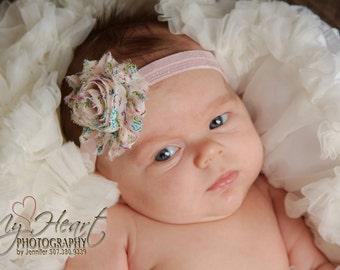 Pink Headband/Pink Baby Headband/Baby Headband/Newborn Headband/Baby Girl Headband/Shabby Chic Headband/Infant Headband/Flower Headband/Pink