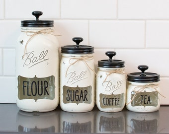 4 piece Canister Set with opening & wording