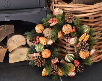 Traditional christmas wreath, front door wreath, dried fruit wreath, home decor, natural wreath, christmas decorations, home decor,