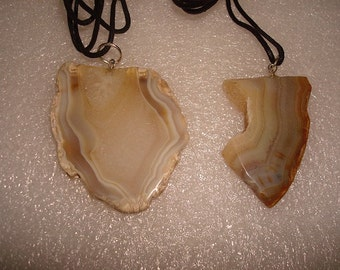 Two Different Natural Agate Slice Necklace (Sold Seperately)