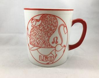 Vintage Orange and White AES Japan Zodiac Mug Leo Lion Astrology Mug