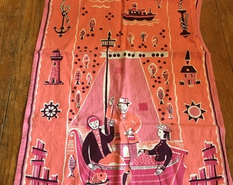 Vintage Mid Century Bright Pink Kitchen Towel With Scenes of Fishing and Nautical Items as Border