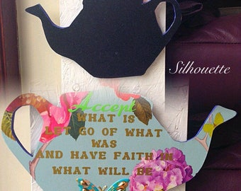 Teapot wall hanging quote plaque