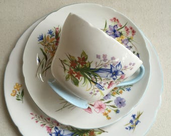 Shelley Pottery Fine Bone China Breakfast Cup, Saucer and Plate (trio) in 'Wild Flowers' design.