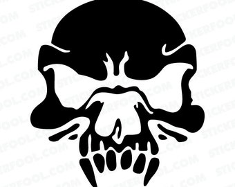 325 - Zombie Vampire Skull Any Size or Color Custom Cut Vinyl Decal Sticker - Free Shipping