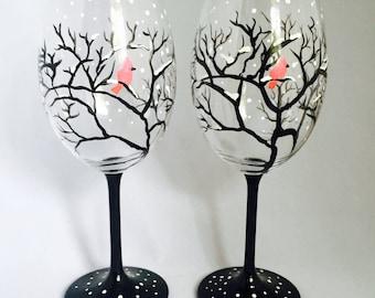 CARDINAL TREE  Glasses - Set of 2 Hand Painted Wine Glasses - Christmas Glasses, Hostess Gift, Winter Theme,Secret Santa,Seasonal Glassware,