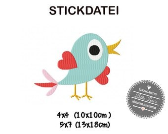 Embroidery design embroidery Bird love Valentines Day 4 x 4 5 x 7