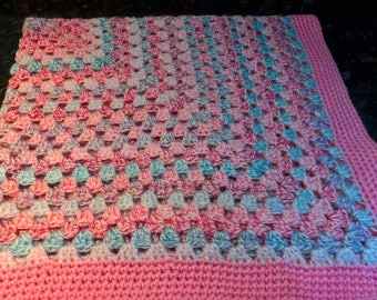 "Handmade ""Fairytale"" Baby Blanket in pink/lilac/blue shades"