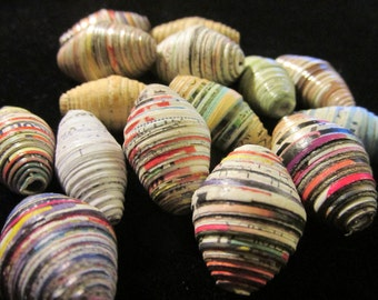 African Rolled Paper Oblong Beads, Set of 6, 1""