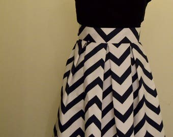Pleated Chevron Striped Skirt