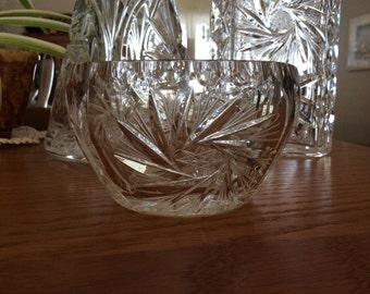 Vintage Bohemian crystal Pinwheel pattern Czech open sugar dish