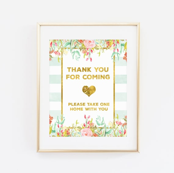 Printable Baby Shower Sign Thank You For Coming Please Take