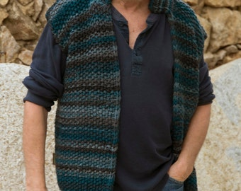 Men's vest, Teal / anthracite, hand knitted
