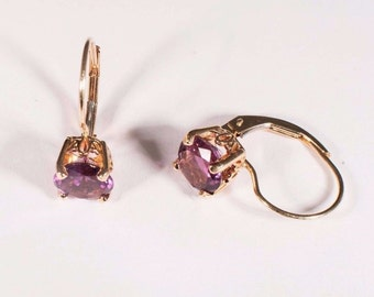 14K Yellow Gold Amethyst Earrings 3 ct. tw.