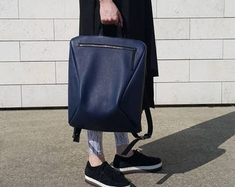 Navy Blue Backpack, Minimalist and Functional Backpack, Women's Leather Backpack, Super Navy Blue Color for City or the Beach
