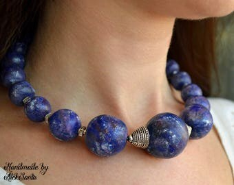 Blue necklace Beaded necklace Blue choker Large necklace Polymer clay necklace Chunky necklace Statement necklace Polymer clay jewelry .msn