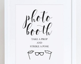 Photo Booth Sign - 8x10 Photo Booth Sign - Wedding Sign - Grab a Prop and Strike a Pose