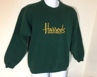 Adult Long Sleeve  M- HARRODS KNIGHTBRIDGE Sweat Shirt Designer Clothing LONDON England Embroidered y