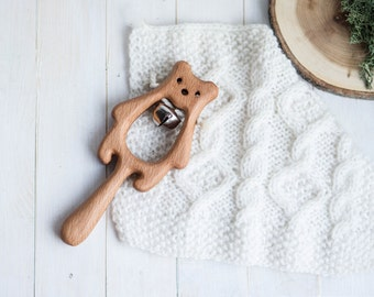 Rattle with Bell. Organic Wooden Teething Toy. Bear Rattle. Natural Wooden Toy. Eco Friendly Infant Toy. Newborn gift.