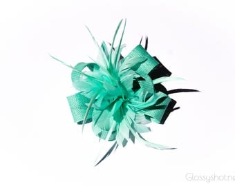 Mint Classic Feather Flower Fascinator Clip and Brooch