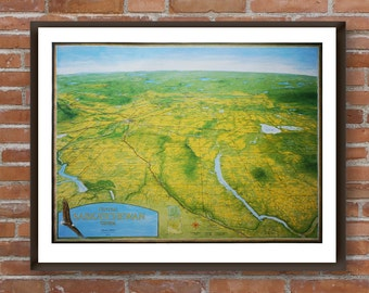 Map of Central Saskatchewan. Each print is signed by the cartographer. Wall art print of hand painted map. Canadian art poster. Wall decor.