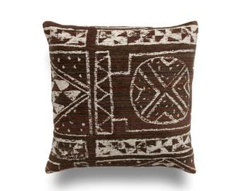 Brown Pillow Cover -Designer Pillow Cover -Tribal Pillow -Brown Throw Pillow -Geometric Pattern -Robert Allen Cannot Resist -Chenille Pillow