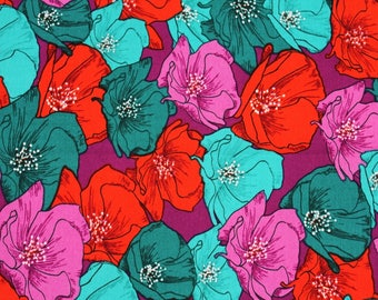 Poppy patterned Fabric, Flower Fabric for Anthology Fabrics by the Half Yard