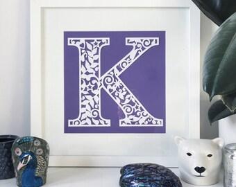 "7"" Papercut Alphabet Letter / Initial Unframed"