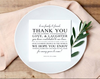 Wedding Thank You Card, Place Setting Thank You Card, Thank You Card Template, Wedding Printable, PDF Instant Download
