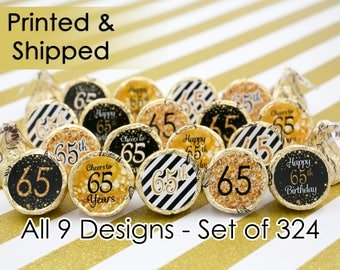 65th Birthday Party Decorations - Gold & Black - Stickers for Hershey Kisses (Set of 324)